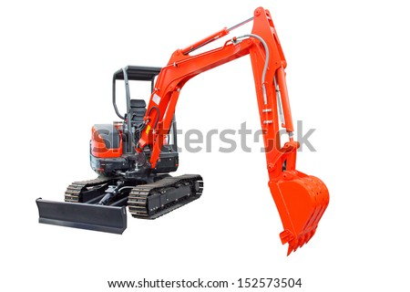 New tracked excavator, trackhoe isolated on white background