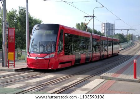 New tram on tram stop in Bratislava, Slovakia #1103590106