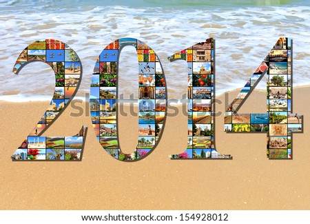 New two thousand fourteen. Numbers are made of the Mediterranean vacation collage photos on the sea wave background