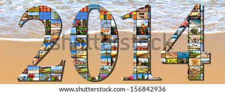 New two thousand fourteen. Numbers are made of the Mediterranean vacation collage photos on the sea wave