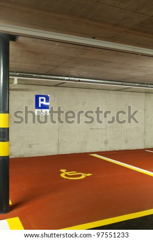 new underground parking, disabled - stock photo