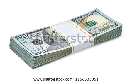 New US Dollar bills bundle isolated on white background including clipping path.