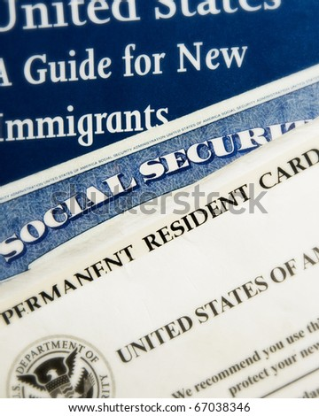 New US immigrant documents - stock photo