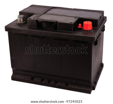 Charging  Battery on New V Rechargeable Car Battery Isolated On White Electrical Charge