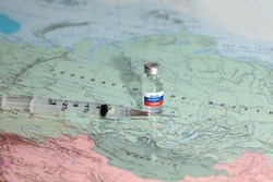 New vaccine sputnik-v on map russia background. Coronavirus vaccine. Covid-19, 2019-nCov pandemic.