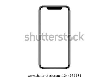 New version of black slim smartphone similar to iphone xs max with blank white screen from Apple generation 10 , mockup model similar to iPhonex isolated on Background of digital economy. #1244931181