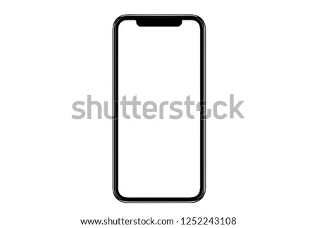 New version of black slim smartphone similar to iphone xs max with blank white screen from Apple generation 10 , mockup model similar to iPhonex isolated Background of ai digital investment economy. #1252243108