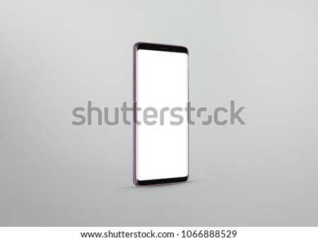 New version of smart phone with touchscreen isolated on grey background #1066888529