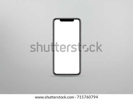 New version of smart phone with touchscreen isolated on grey background #715760794