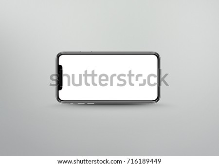 New version of smart phone with touchscreen isolated on grey background #716189449