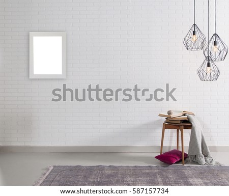 new wall lamp modern interior decoration empty room and frame #587157734