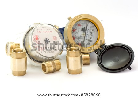 New water meter with fittings isolated in white background