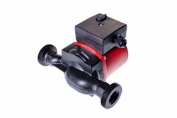 New water pump used in the central heating system of a single-family house. Hydraulic spare parts for water system repair. Isolated background.