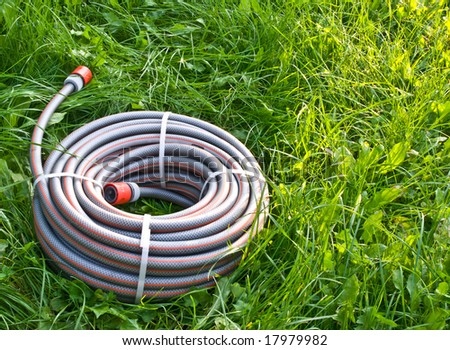 New watering hose on  grass