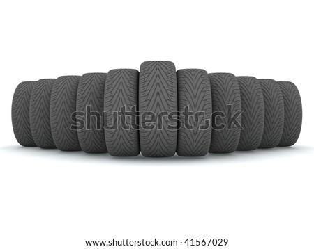 New wheels isolated on white background
