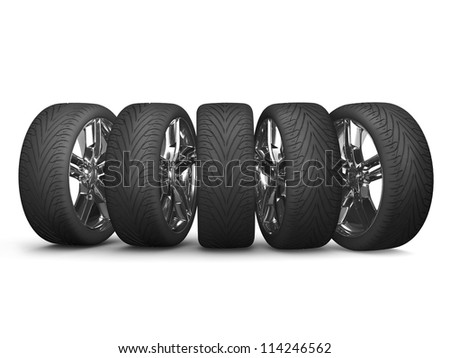 NEW Wheels isolated on white. 3d illustration.
