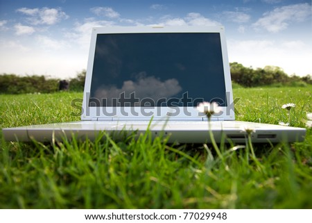 New white laptop in park