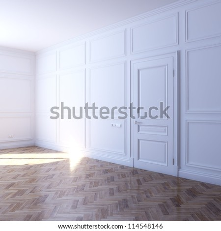 new white room with parquet flooring in the sun (perspective view)
