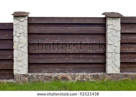 New wooden and stone fence isolated on white