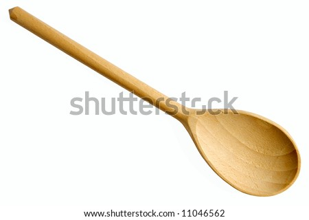 New wooden spoon isolated on a white background.