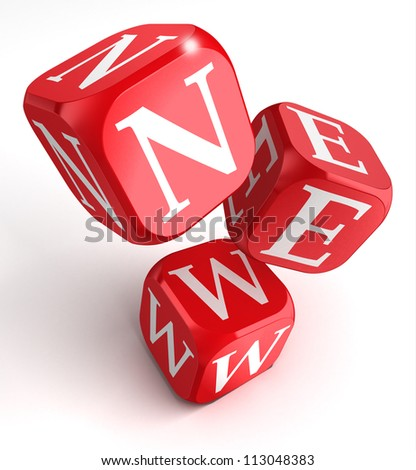new word on red box dice on white background. clipping path included