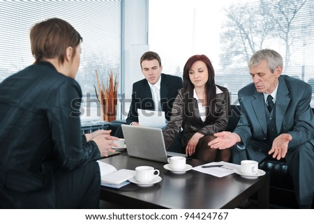 New worker in an interview with three business people getting bad results