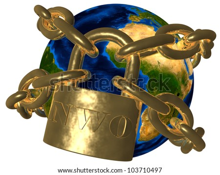 New World Order (NWO) - world in chains Elements of this image furnished by NASA