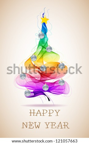 New year abstract background with colorful balls on fur tree and text - stock photo