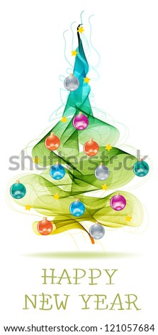 New year abstract background with colorful balls on fur tree and text