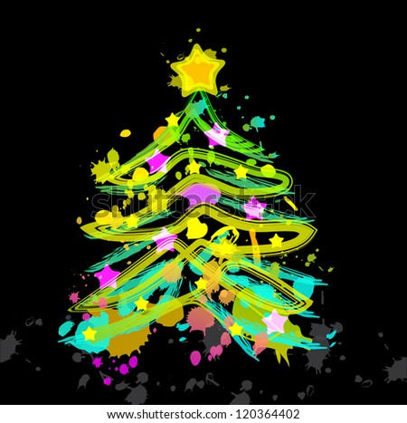 New year abstract blot color fur tree over dark