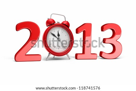 New Year 2013 and Alarm clock (isolated on white and clipping path) - stock photo