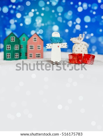 New year and Christmas card. Holiday and celebration concept. Christmas background. Christmas and New Year. Christmas angel with gifts