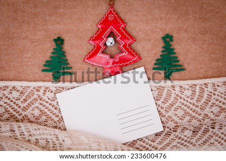 New Year and Christmas card list letter with decorations