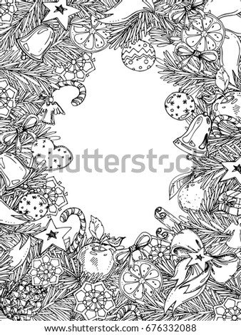 New Year and Christmas vertical frame for coloring book for adult and children. Pattern for coloring book. hand-drawn decorative element.
