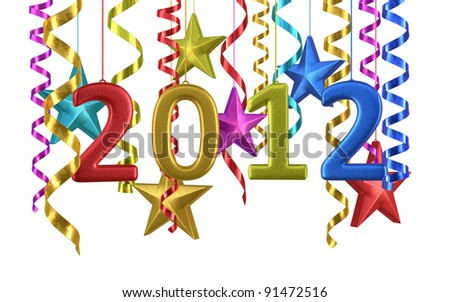 New Year 2012 and colorful star ornament render (isolated on white and clipping path)