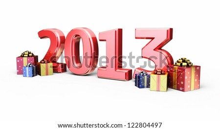 New Year 2013 and Gift Box render (isolated on white and clipping path)