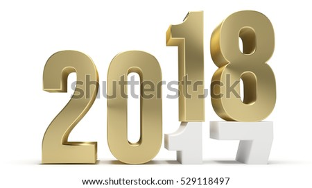 new year 2018 and 2017 golden 3d render