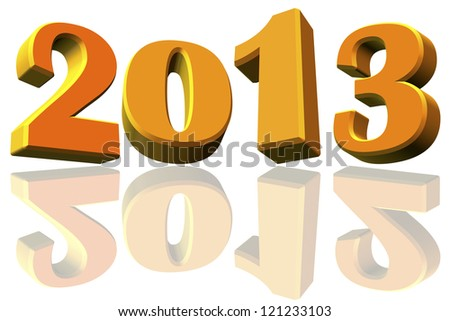 New Year 2013 and reflects to the 2012 on white background