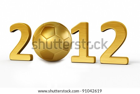 New Year 2012 and soccer ball gold render (isolated on white and clipping path)