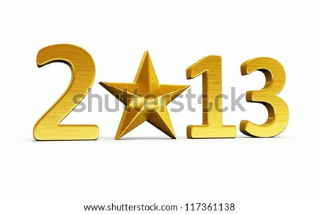 New Year 2013 and star gold render (isolated on white and clipping path)