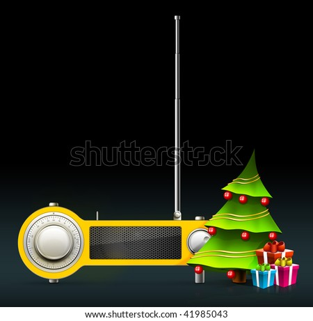 New year and Xmas Radio on the background. Computer Designe, 2D Graphics