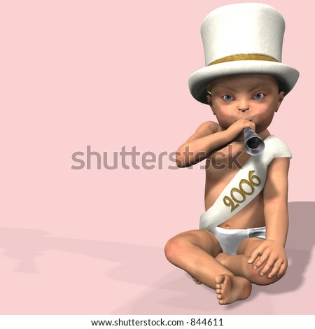New Year baby in a diaper, hat, and 2006 sash blowing a noise maker.  On a pink background.