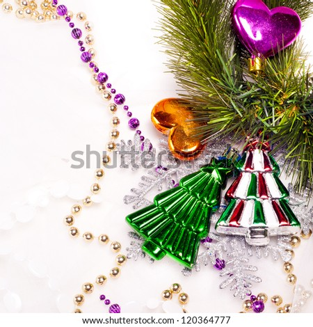 New year background with beautiful color decorations and fur tree - stock photo