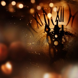 New year background with clock and bokeh for congratulations