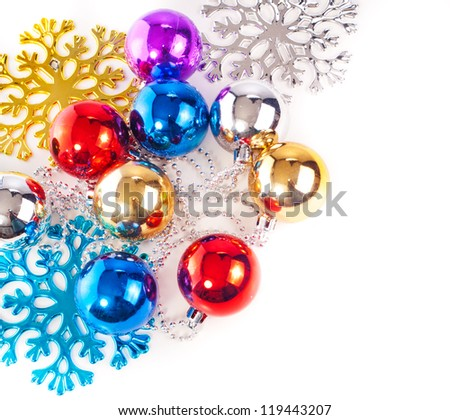 New year background with colorful decoration balls and snowflakes