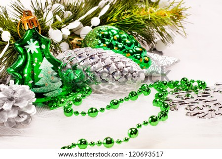 New year background with fur tree decorations for holiday design