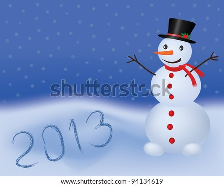 new year 2013  background with snowman - stock photo