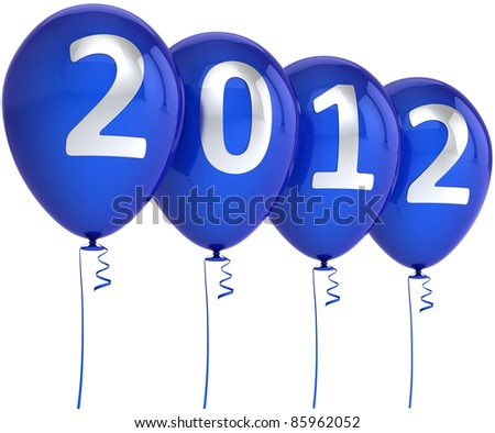 New 2012 Year balloons blue party decoration with silver date. Design element for calendar concept. Happy Merry Christmas joy abstract. Detailed 3d render. Isolated on white background