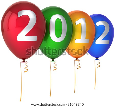 New 2012 Year balloons decoration multicolor red green yellow blue with silver text. Merry Christmas greeting card design element concept. Detailed CG image 3d render. Isolated on white background