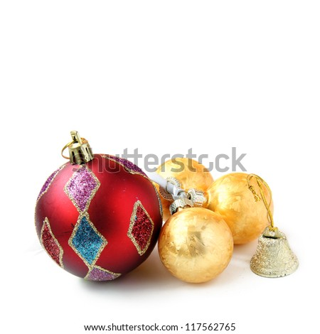 New Year balls on white background